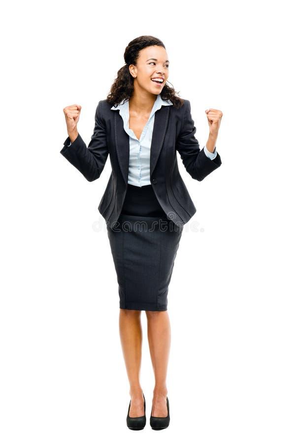 Gewinnender Erfolg der schwarzen Geschäftsfrau des Afroamerikaners lokalisiert lizenzfreies stockfoto