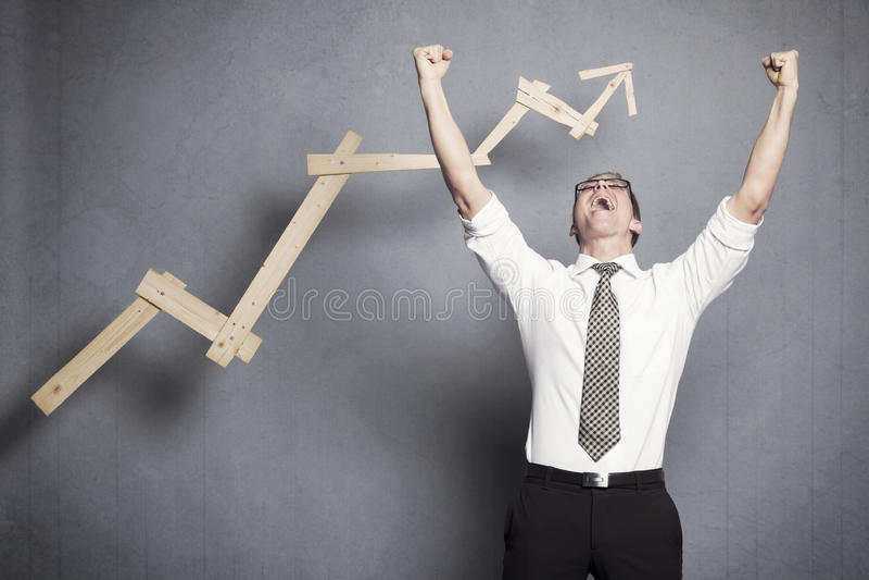 Gewinnender Geschäftsmann. stockfoto