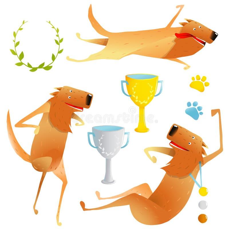 Gewinnender roter glücklicher Hundewettbewerb mit Cups und Medaillen lizenzfreie abbildung