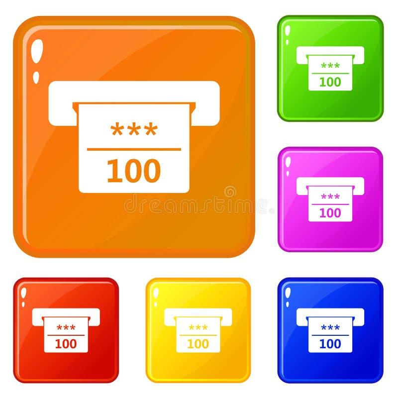 Gewinnender Scheck in der Kasinoikonensatz-Vektorfarbe stock abbildung