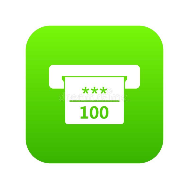 Gewinnender Scheck im digitalen Grün der Kasinoikone stock abbildung