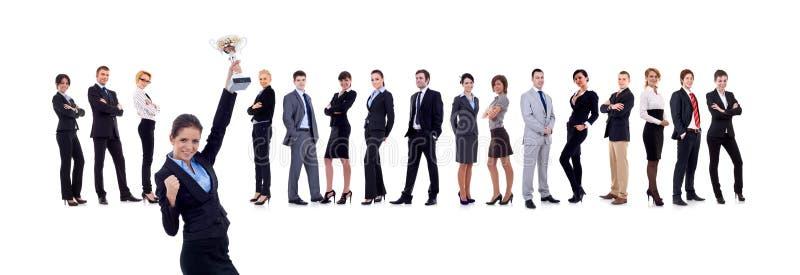 Gewinnendes Geschäftsteam mit weiblichem Leitprogramm lizenzfreies stockfoto