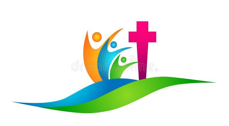 Gewinnendes Glück der Kugelweltkirchen-Leuteverbandslogo-Ikone liebt zusammen Teamerfolg Wellness-Gesundheitssymbol auf weißem Hi lizenzfreie abbildung