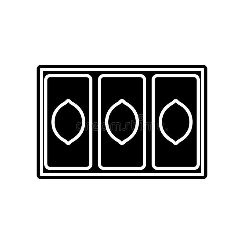 Gewinnikone mit drei Zitronen Element des Kasinos f?r bewegliches Konzept und Netz Appsikone Glyph, flache Ikone f?r Websiteentwu stock abbildung