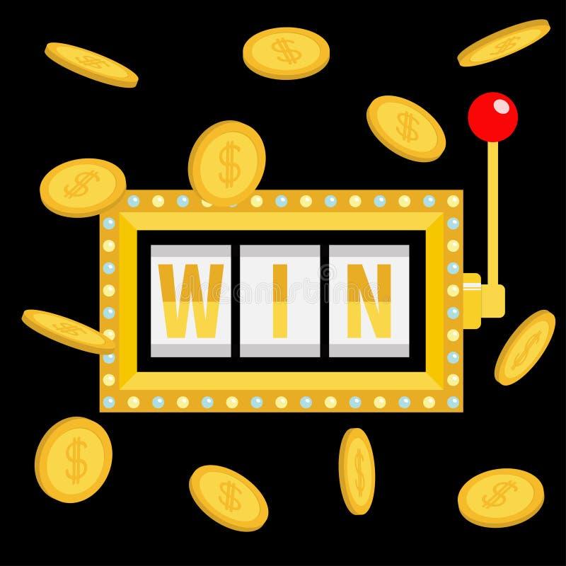 Gewinntext Lokalisiert auf Weiß Goldener Fliegengeld-Münzenregen Licht der glühenden Lampe Roter Griffhebel On-line-Kasino, Spiel vektor abbildung