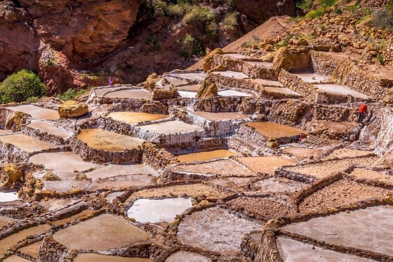 Gewinnung von Salzs-Wannen in Peru lizenzfreies stockfoto