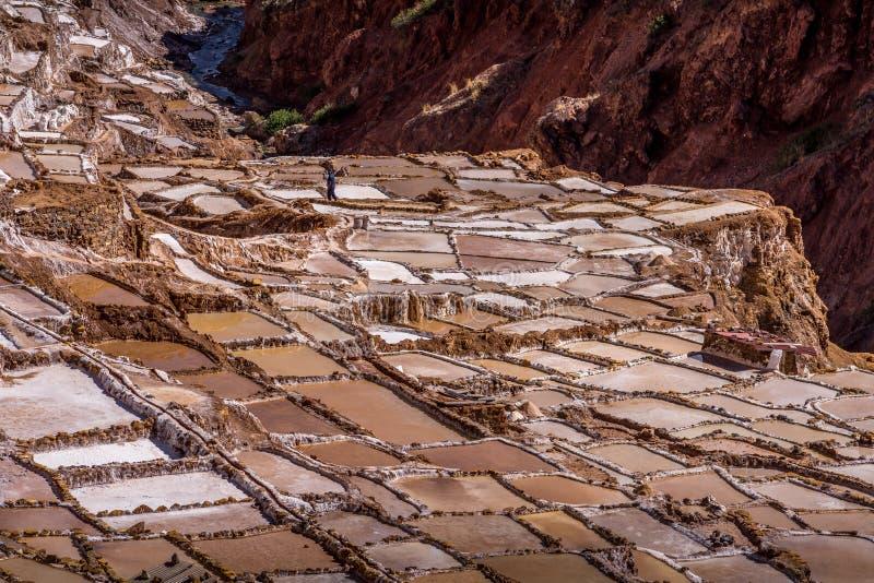 Gewinnung von Salzs-Wannen in Peru lizenzfreies stockbild