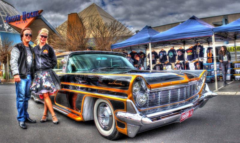 Gewohnheit gemalter fünfziger Jahre Amerikaner Ford Lincoln Continental lizenzfreie stockfotografie