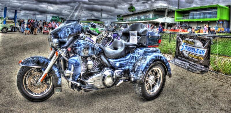 Gewohnheit gemalter Harley Davidson Trike stockbild