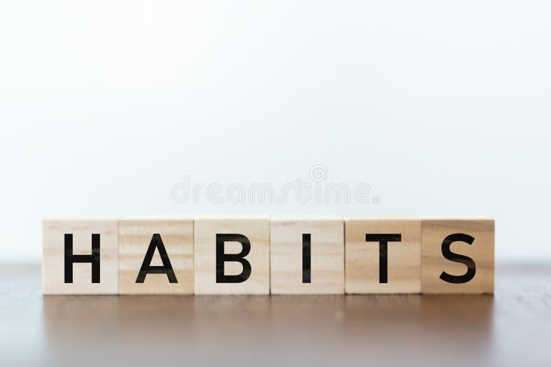 Gewohnheitswort geschrieben auf hölzerne Würfel lizenzfreie stockbilder