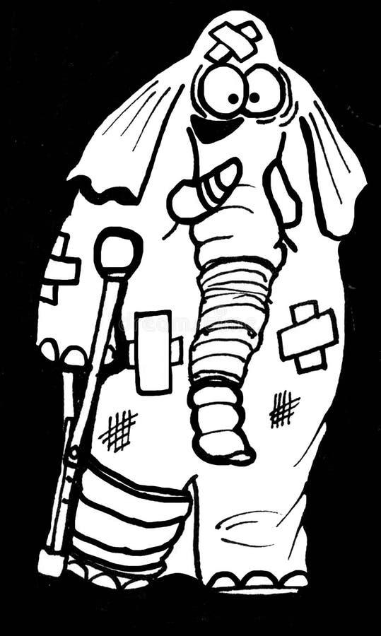 Gewonde olifant vector illustratie