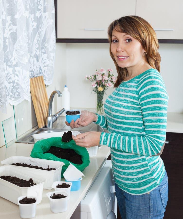 Gewone vrouw in groene makende grond in potten voor spruiten royalty-vrije stock afbeelding