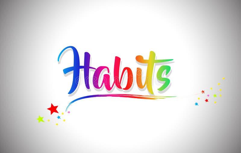 Gewoonten Met de hand geschreven Word Tekst met Regenboogkleuren en Trillende Swoosh vector illustratie