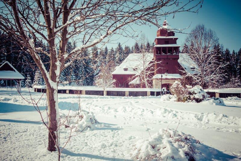 Gewrichts houten kerk, Slowakije royalty-vrije stock foto's