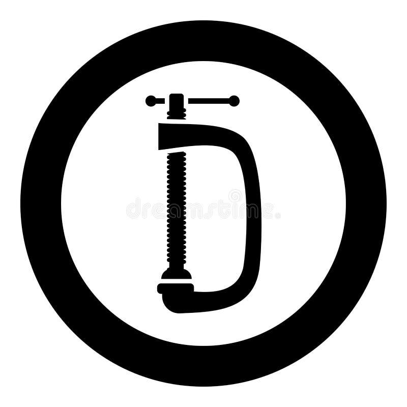 Gewrongen van de schroef-klem vector de illustratie eenvoudig beeld pictogram zwart kleur royalty-vrije illustratie