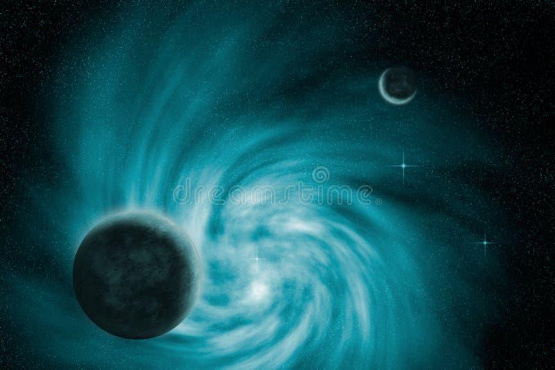 Gewundene Galaxie mit Planeten vektor abbildung