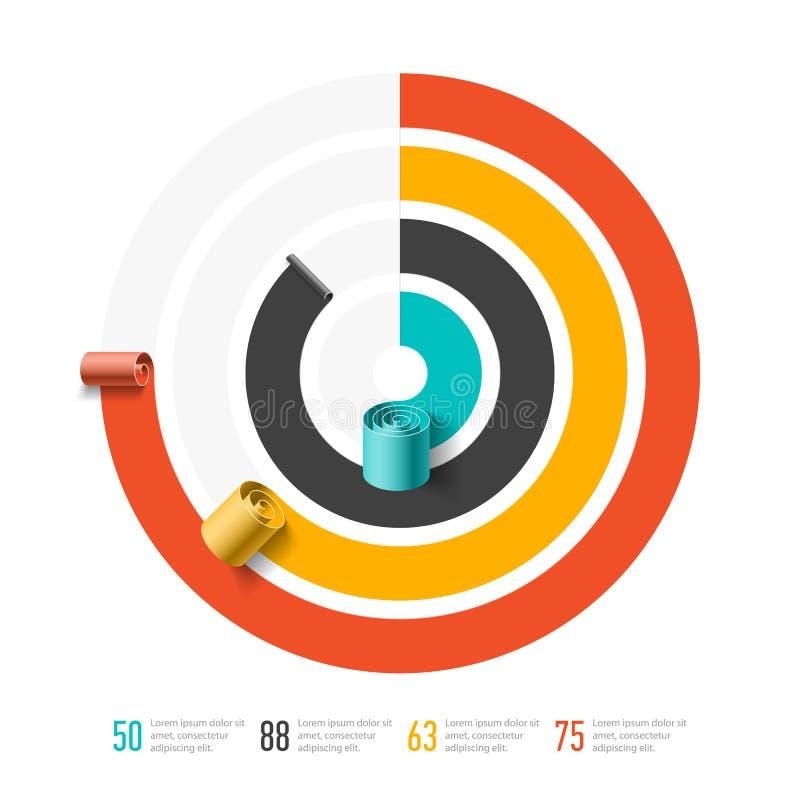 Gewundene Geschäftsdiagrammschablone, infographics Element vektor abbildung
