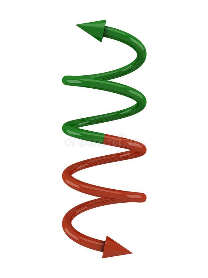 Gewundene grüne rote Zeile mit Pfeilen lizenzfreie abbildung