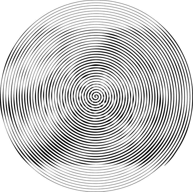 Gewundene runde Form Das Element des Designs, zum von abstrakten Plänen, Abdeckungen, Druck zu schaffen auf Papier, Gewebe, Verpa vektor abbildung