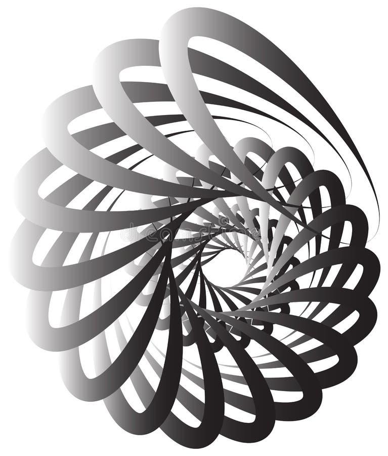 Gewundene Spirale, Schneckenform, Element Sich drehen, wirbelnde Zusammenfassung stock abbildung