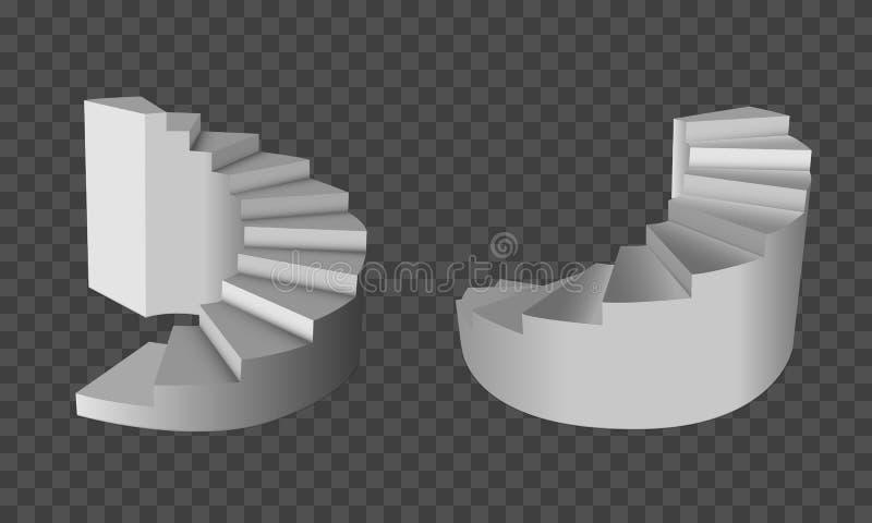 gewundene Treppen 3D Leitertreppenhaus zum Erfolg Treppe auf transparentem Hintergrund lizenzfreie abbildung