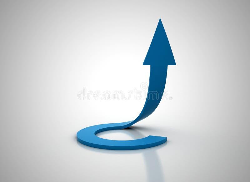 Gewundener blauer Pfeil, der oben illudtration 3d geht stock abbildung