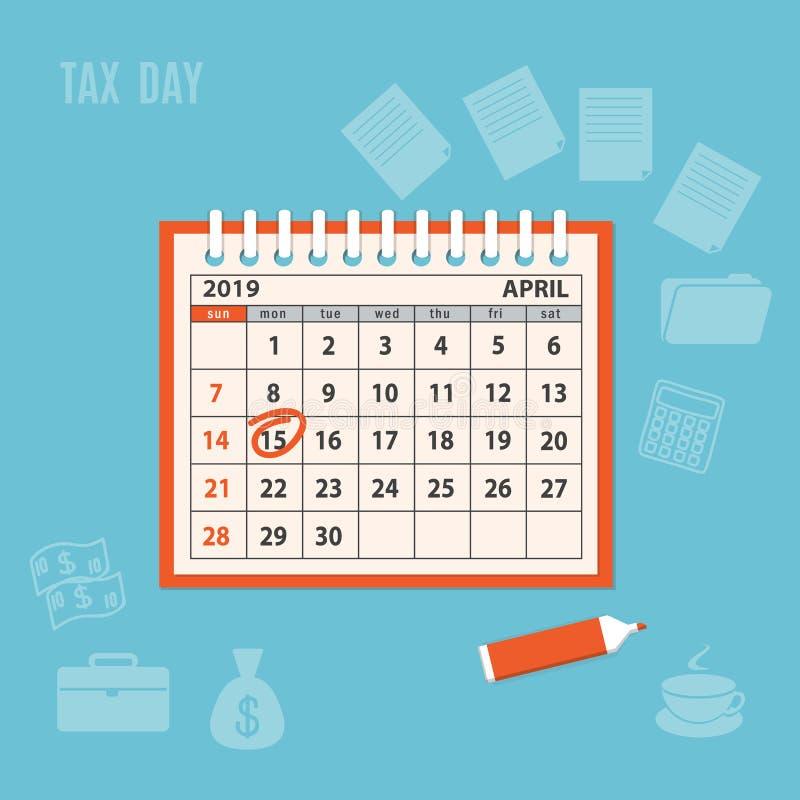 Gewundener Kalender April-Seite 2019 mit markiertem Steuertag vektor abbildung