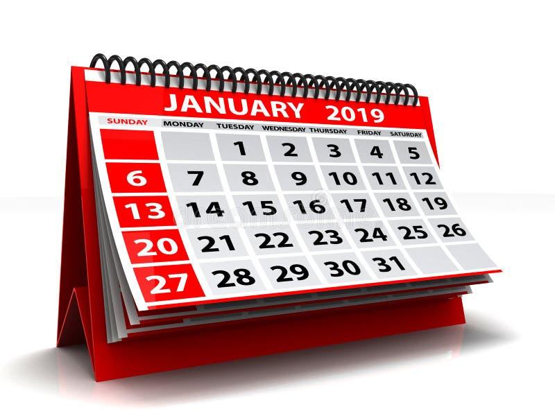 Gewundener Kalender im Januar 2019 Januar 2019 Kalender im weißen Hintergrund Abbildung 3D lizenzfreie abbildung