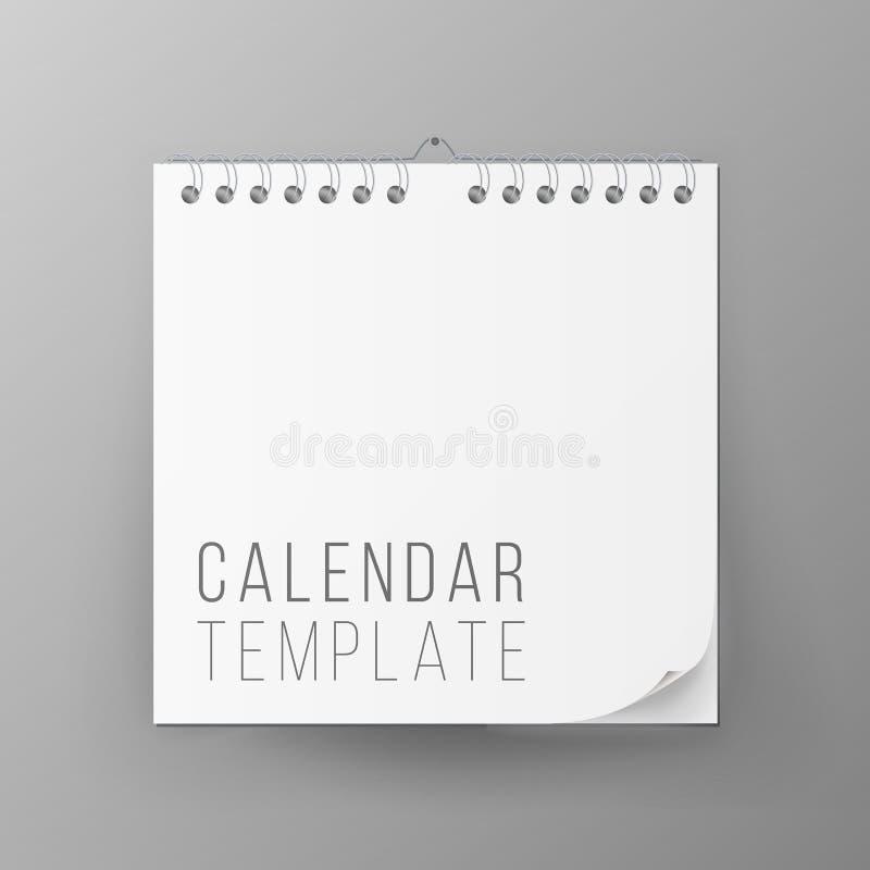 Gewundener Kalender-Vektor Leerer Büro-Kalender-Spott oben Realistische Blätter Papier Leeren Sie scheinbareshohes Auch im corel  lizenzfreie abbildung