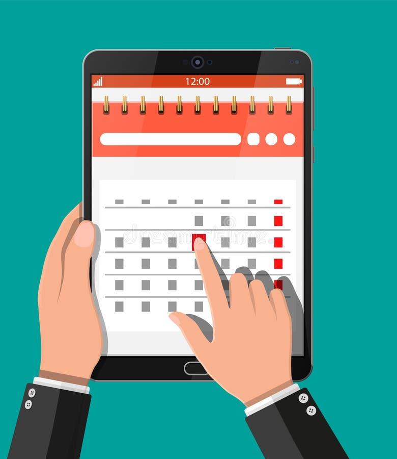 Gewundener Papierwandkalender im Tabletten-PC lizenzfreie abbildung