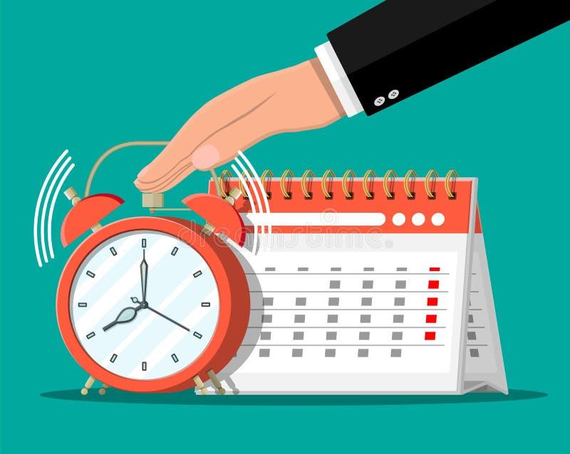 Gewundener Papierwandkalender, Uhren und Hand lizenzfreie abbildung