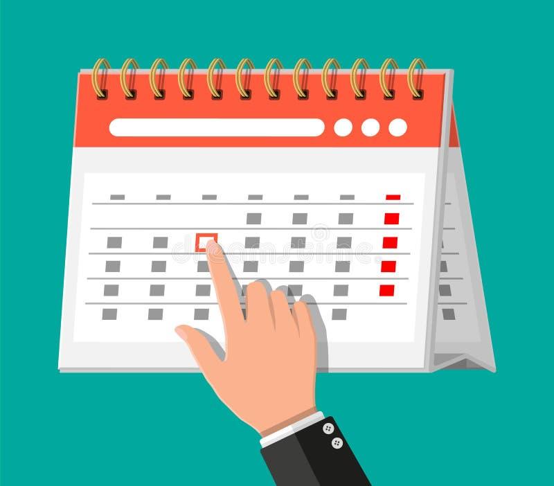 Gewundener Papierwandkalender und Hand stock abbildung