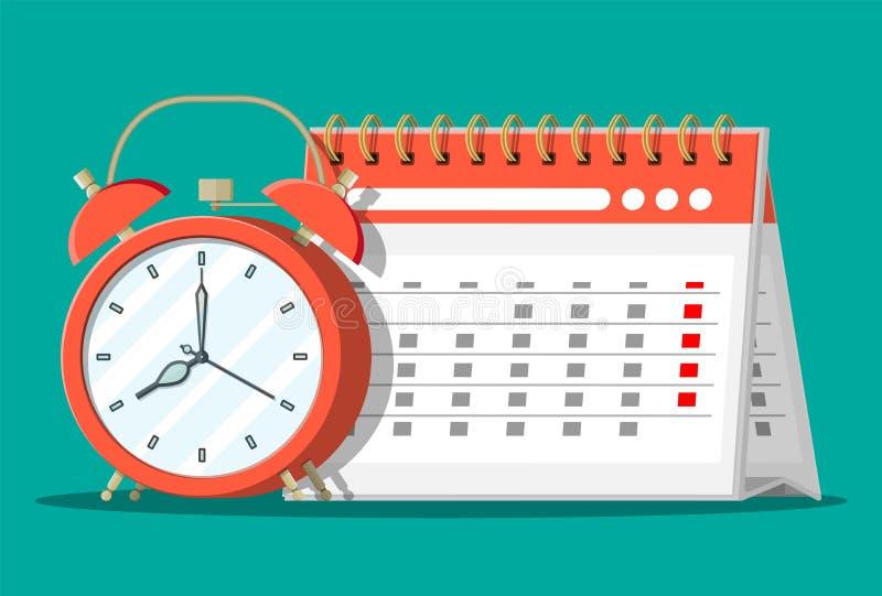Gewundener Papierwandkalender und Uhren lizenzfreie abbildung