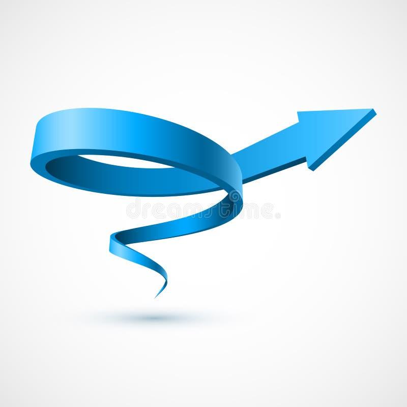 Gewundener Pfeil 3D des Blaus lizenzfreie abbildung