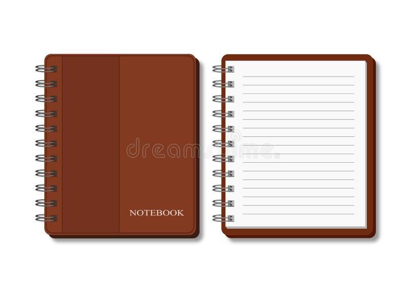 Gewundenes Notizbuch in der braunen Abdeckung - offen und geschlossen stock abbildung