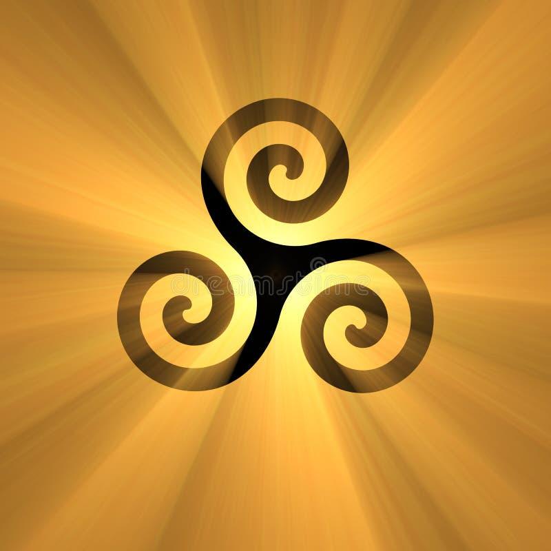 Gewundenes Symbol Triskelion mit hellem Aufflackern stock abbildung