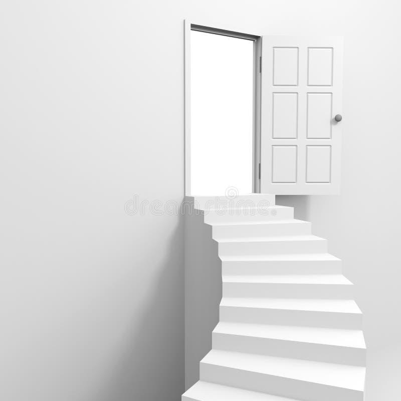 Gewundenes Treppenhaus zur offenen Tür. vektor abbildung