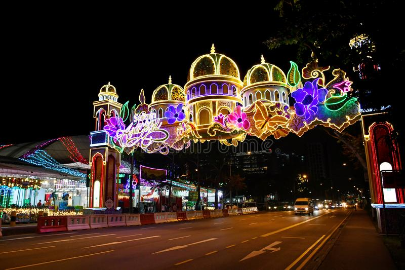 Geylang Serai Festive Light Up 2019. The event is an annual celebration of the Islamic fasting month of Ramadan stock photos