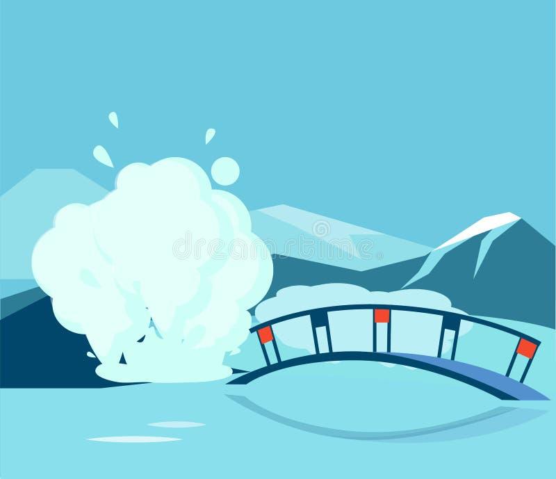 Geyser και η γέφυρα διανυσματική απεικόνιση