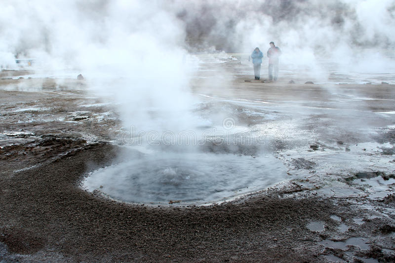 Geyser. In El Tatio, Chile royalty free stock photo