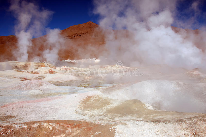 Geyser in bolivia stock images