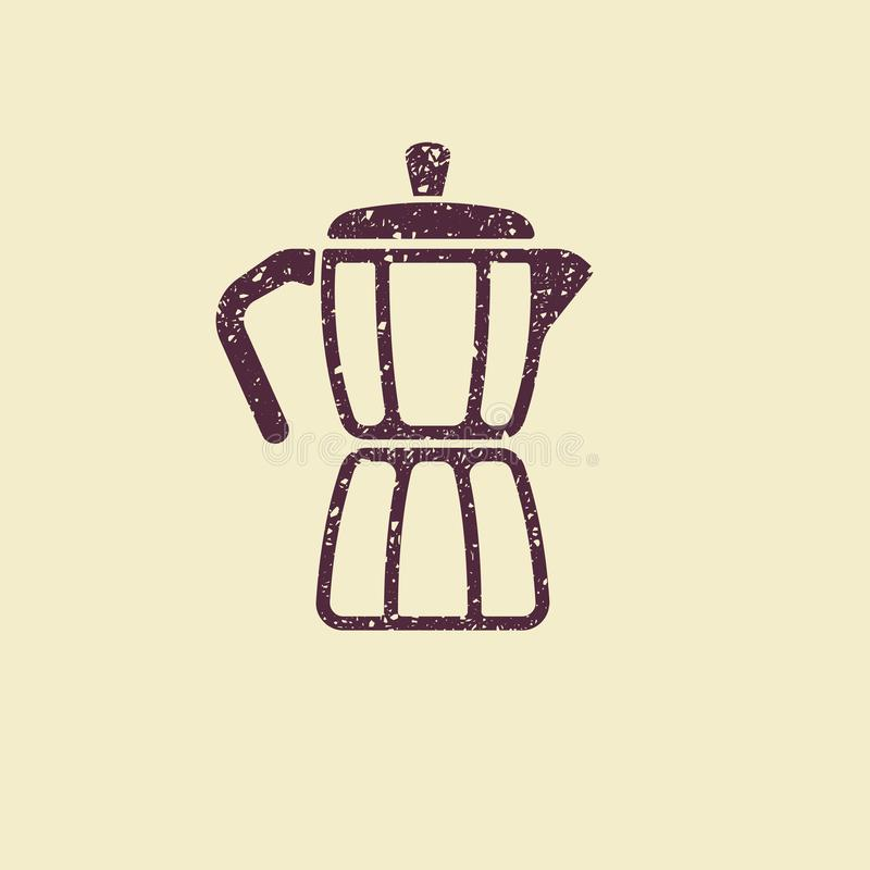 Geyser coffee maker icon. Geyser coffee maker. Flat vector icon in grunge style royalty free illustration