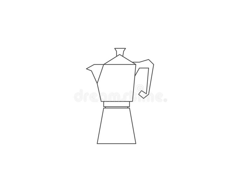 Geyser coffee maker line icon, Coffee pot logo, Coffee maker vector logo, Coffee shop logo, Vector illustration stock illustration