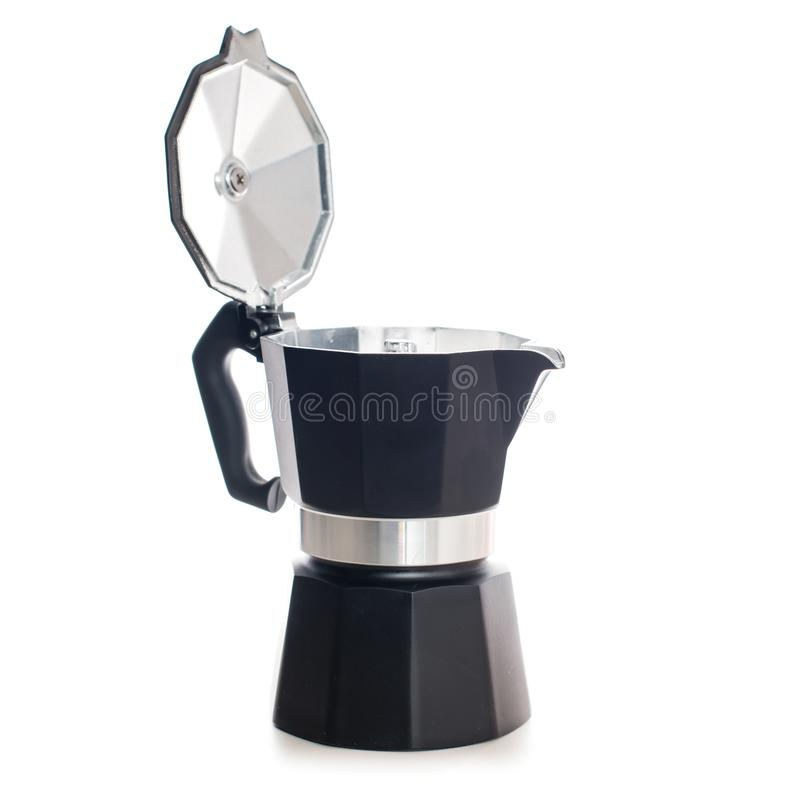 Geyser coffee maker. Nice design of the of black geyser coffee maker ital. la moka on the table, isolated on white background royalty free stock images