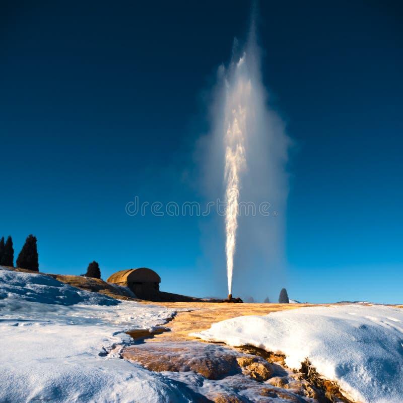 Soda Springs Geyser Eruption in Winter stock photo