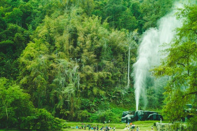 Geyser in foresta tailandese fotografia stock