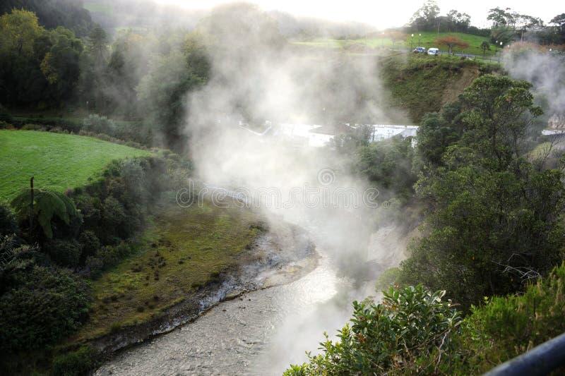 Geyser Furnas, på Sao Miguel Island, Azores royaltyfria foton