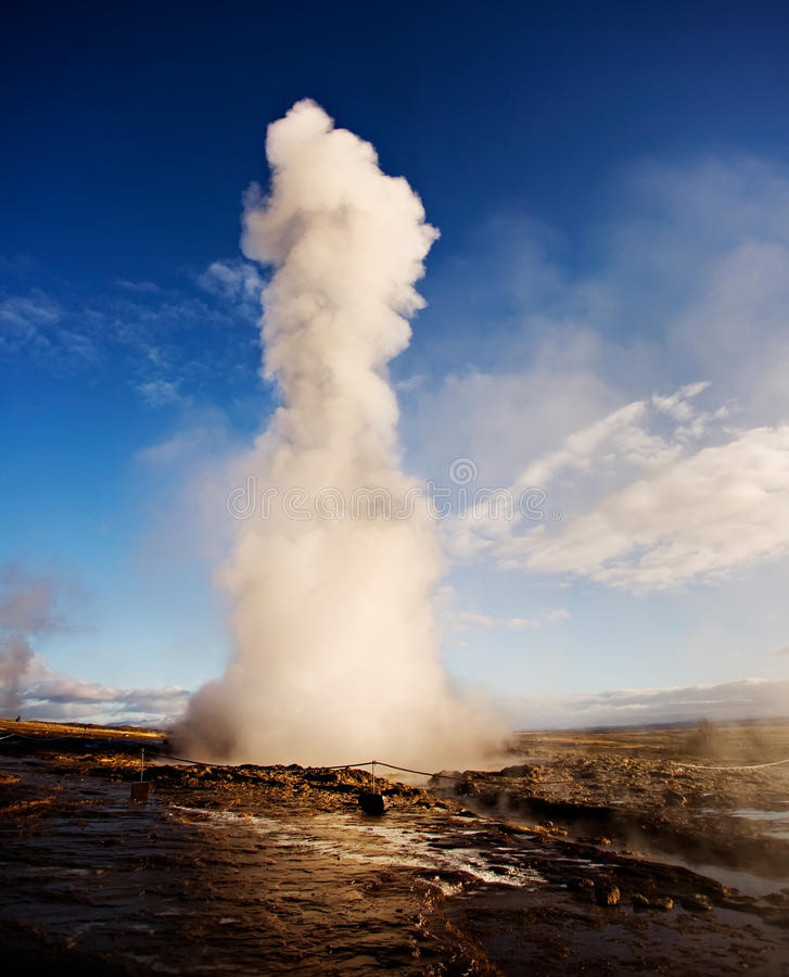 Geyser, Iceland. Famous Geyser eruption at sunset, Iceland royalty free stock photo