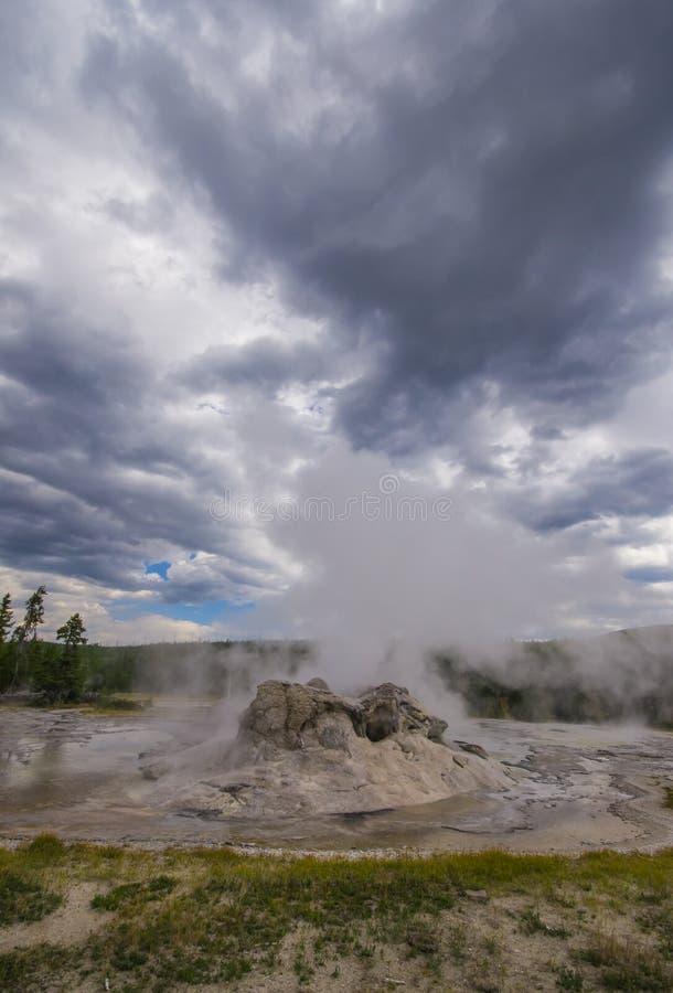 Geyser spewing steam stock images