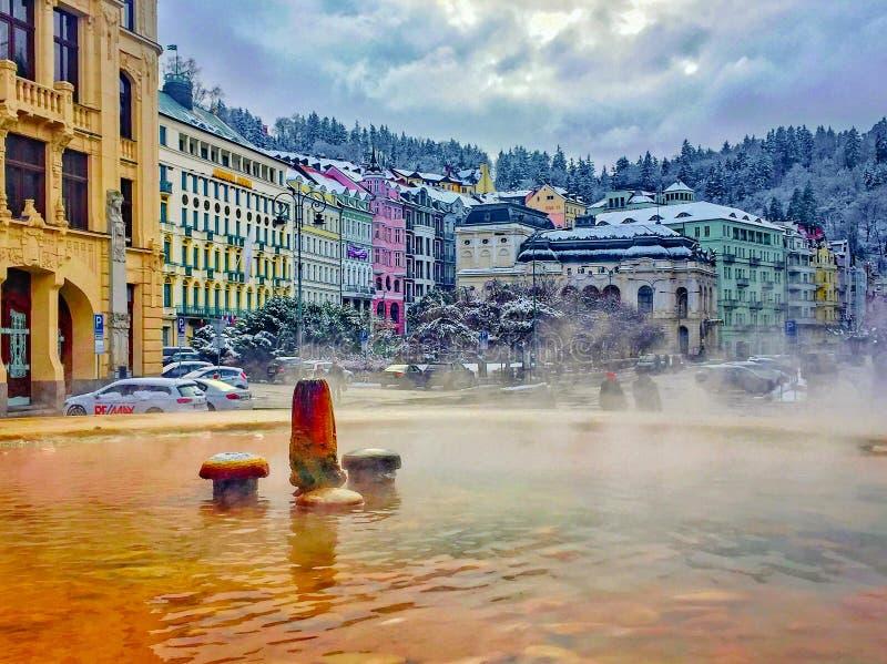 Geyser springs in Karlovy Vary, Czech Republic stock photos